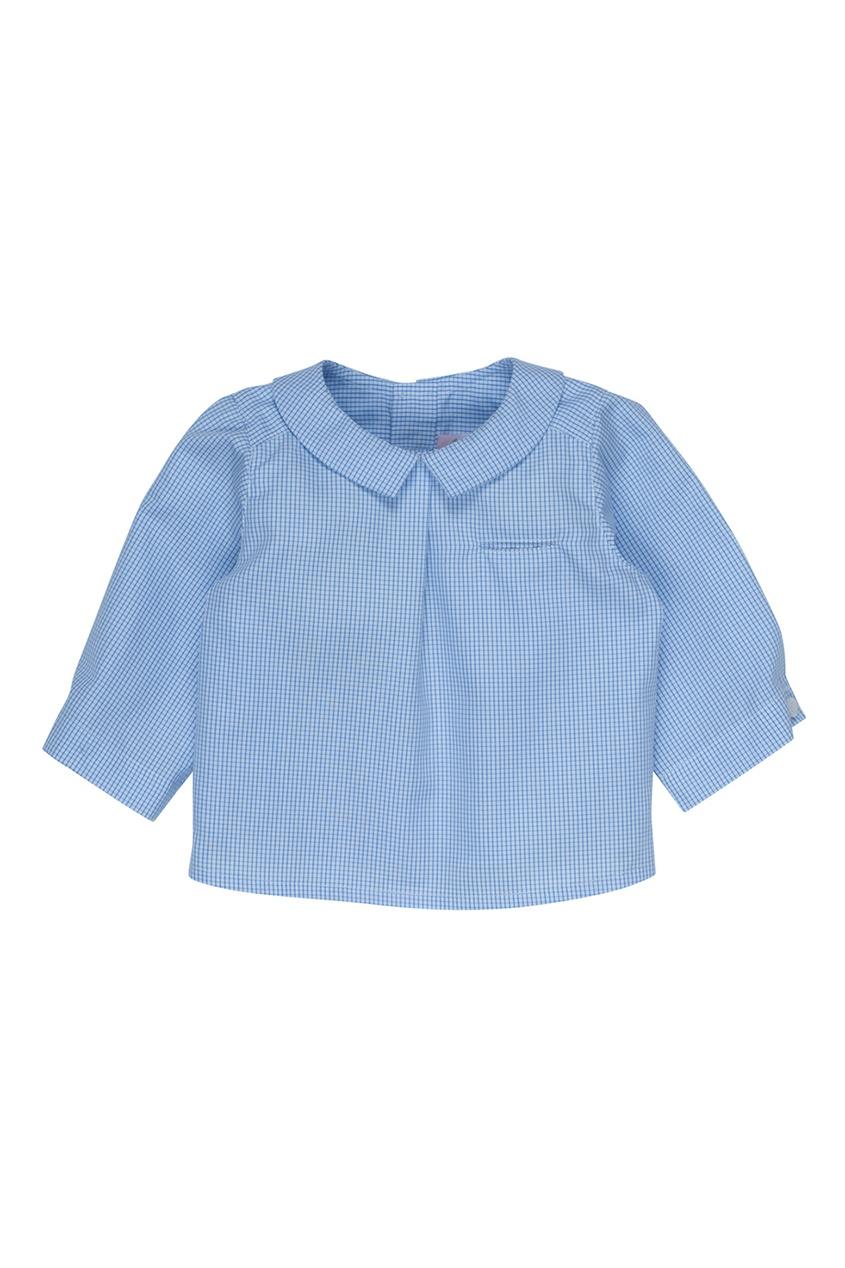 Bonpoint Хлопковая синяя рубашка AQUARELLE no 21 хлопковая рубашка с перьями