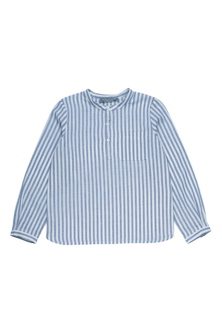 Синяя рубашка из хлопка и льна ARTISTE