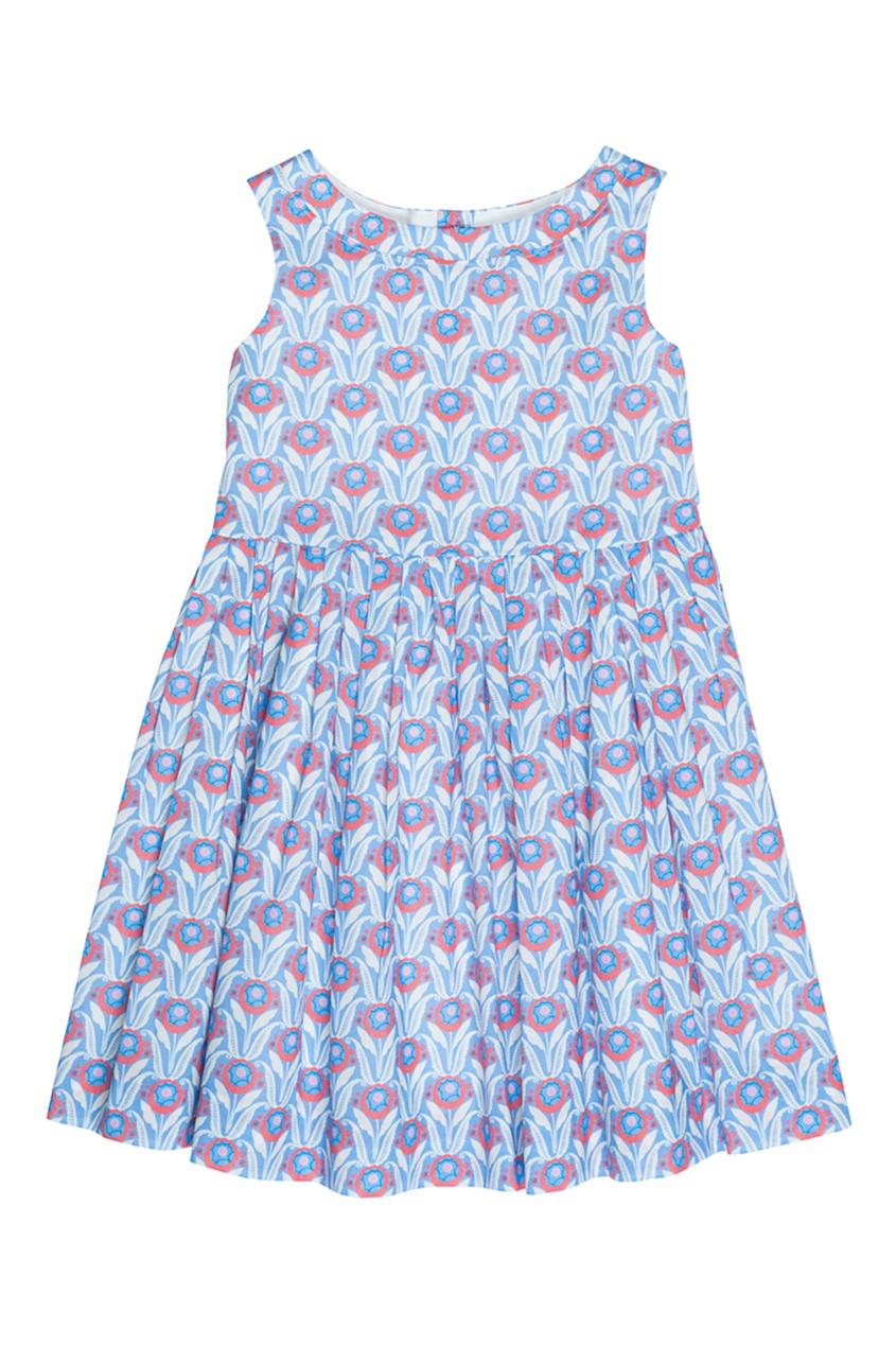 Bonpoint Хлопковое синее платье ALINA поло синее с принтом ido ут 00004176