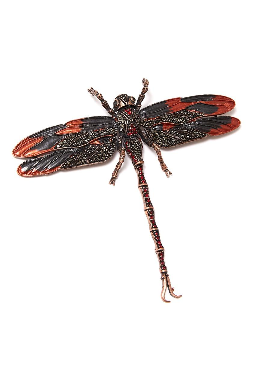 Брошь-стрекоза с кристаллами