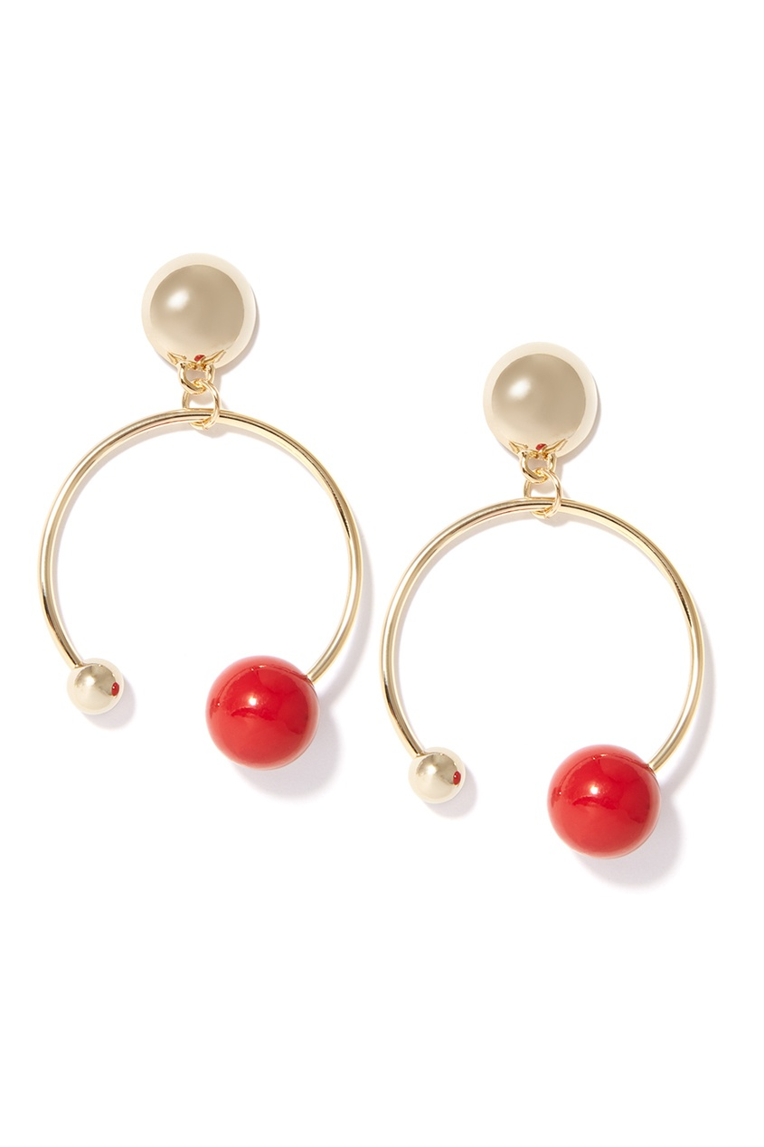Золотистые серьги-кольца с красными бусинами