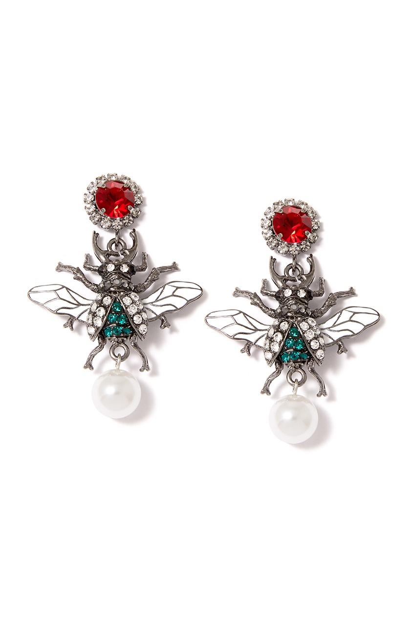 Herald Percy Декорированные серьги-мухи серьги herald percy асимметричные золотистые серьги трилистники с разноцветными кристаллами