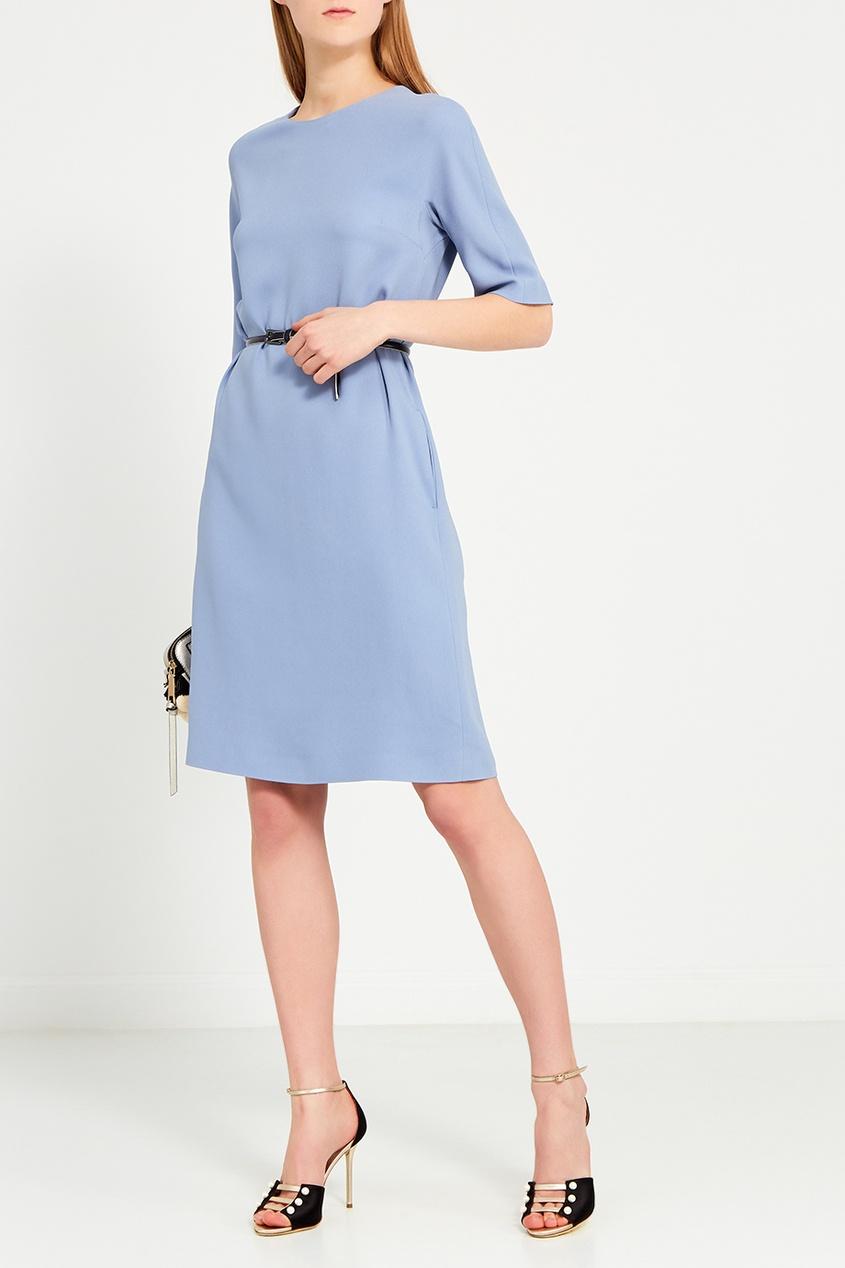 Max Mara Однотонное голубое платье платье голубое в белый горошек