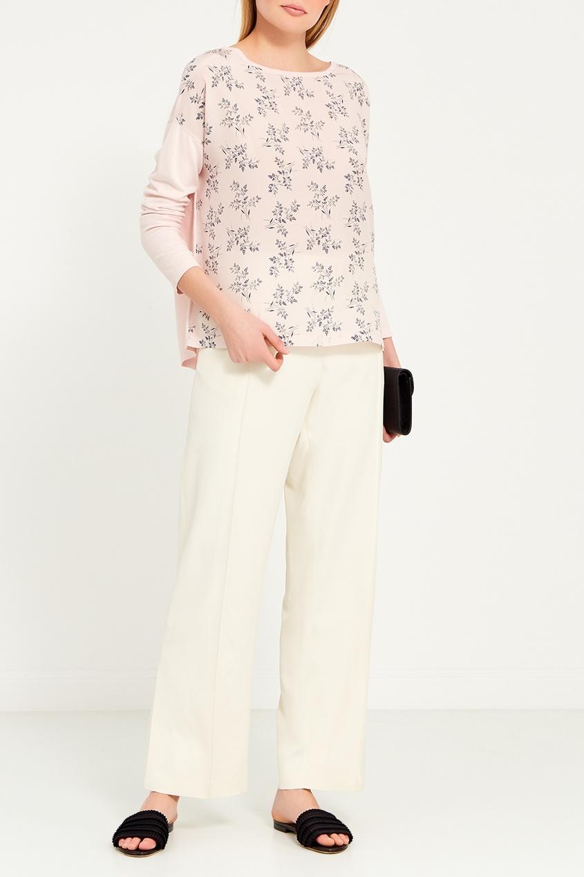 Max Mara Weekend Комбинированная блузка с принтом полуприлегающая блуза с принтом max mara полуприлегающая блуза с принтом