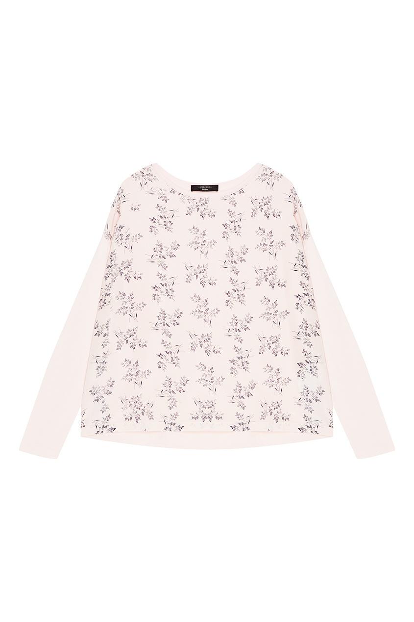 Комбинированная блузка с принтом