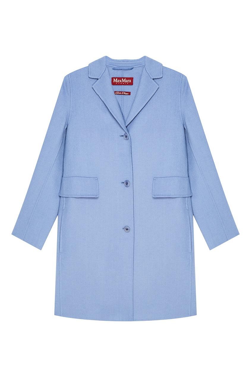 Max Mara Прямое голубое пальто из шерсти женское пальто max mara max mara2014