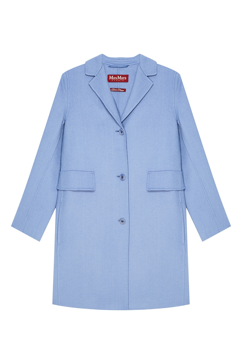 Max Mara Прямое голубое пальто из шерсти брюки weekend max mara weekend max mara we017ewtmp41