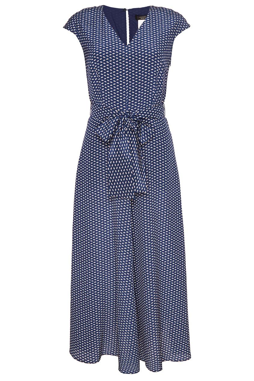Max Mara Weekend Синее платье-миди с поясом поло синее с принтом ido ут 00004176