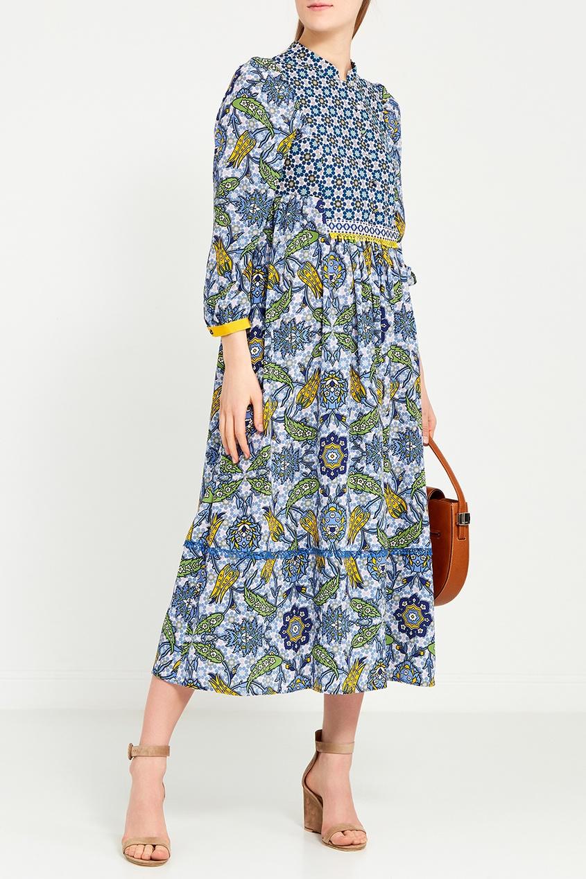 Max Mara Weekend Платье-миди с комбинированным принтом полуприлегающая блуза с принтом max mara полуприлегающая блуза с принтом