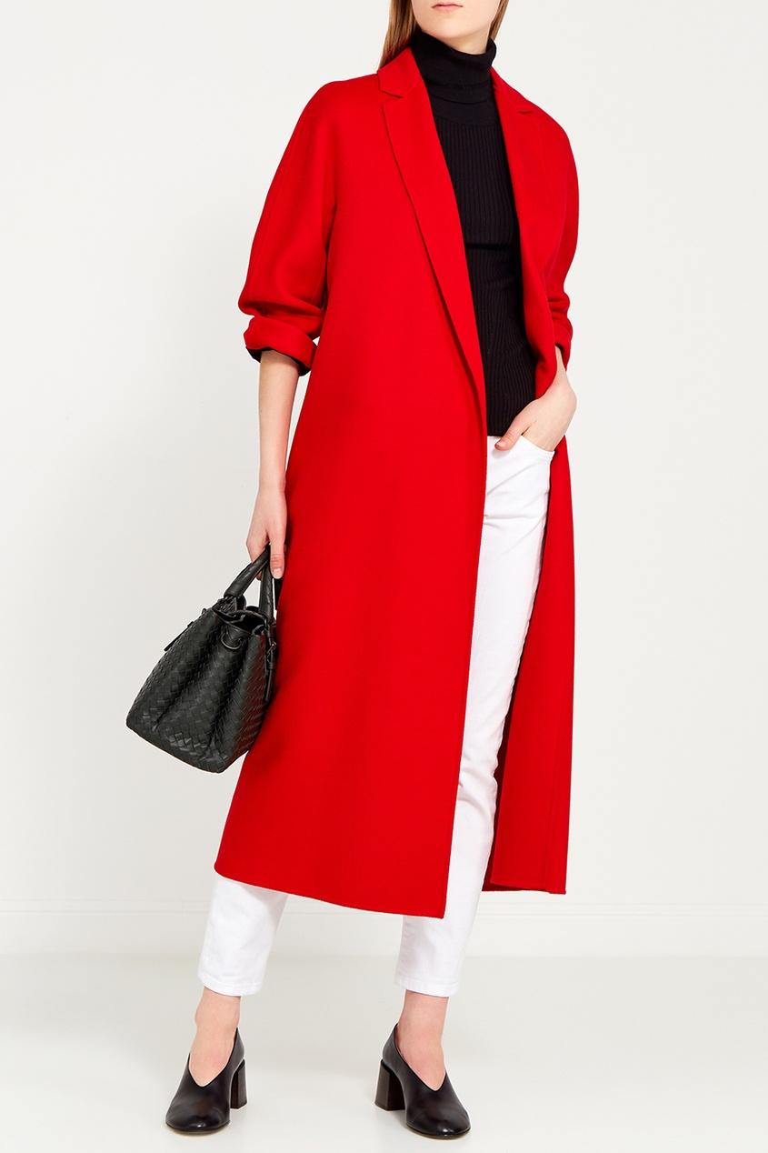 Max Mara Красное пальто из шерсти с кашемиром пальто двухцветное с поясом 70% шерсти