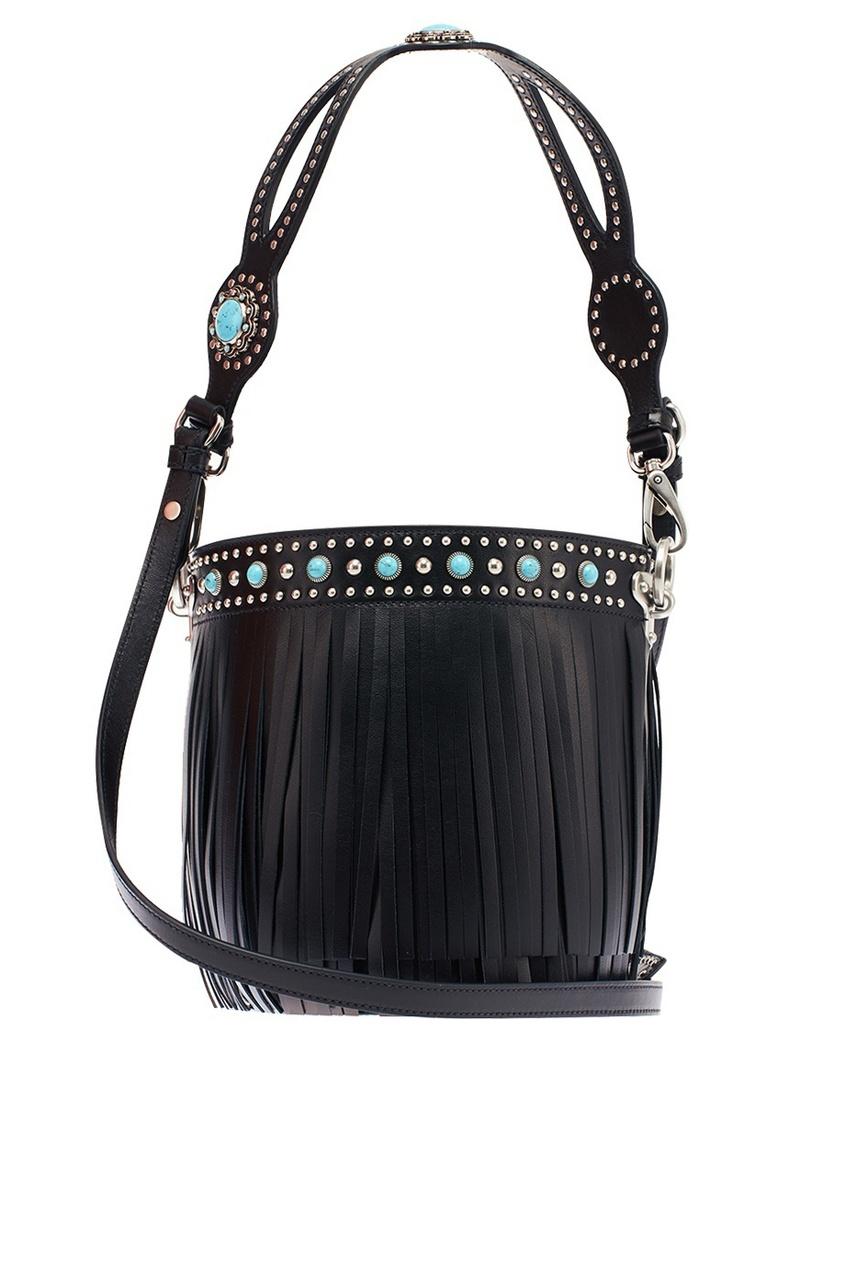 Prada Черная кожаная сумка с бахромой Bucket