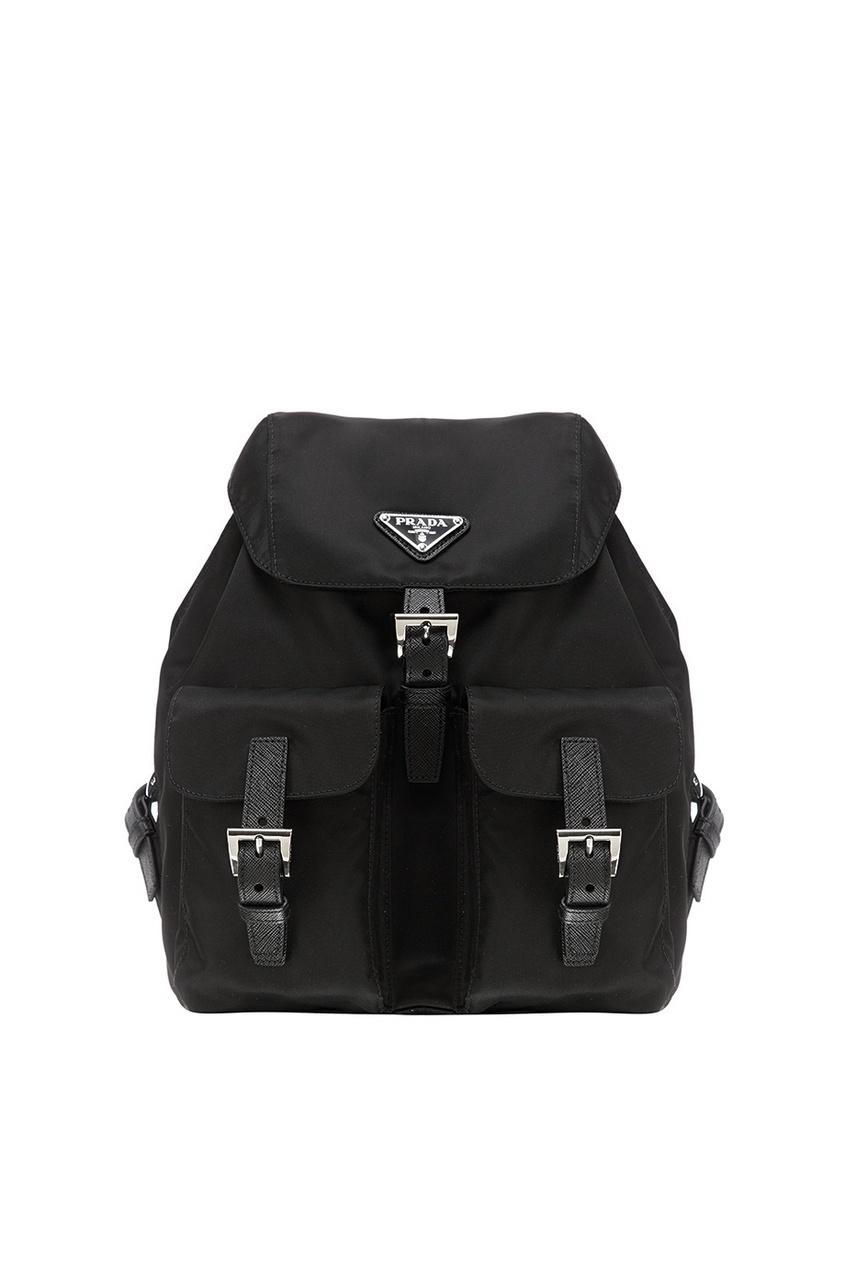 Черный текстильный рюкзак с логотипом