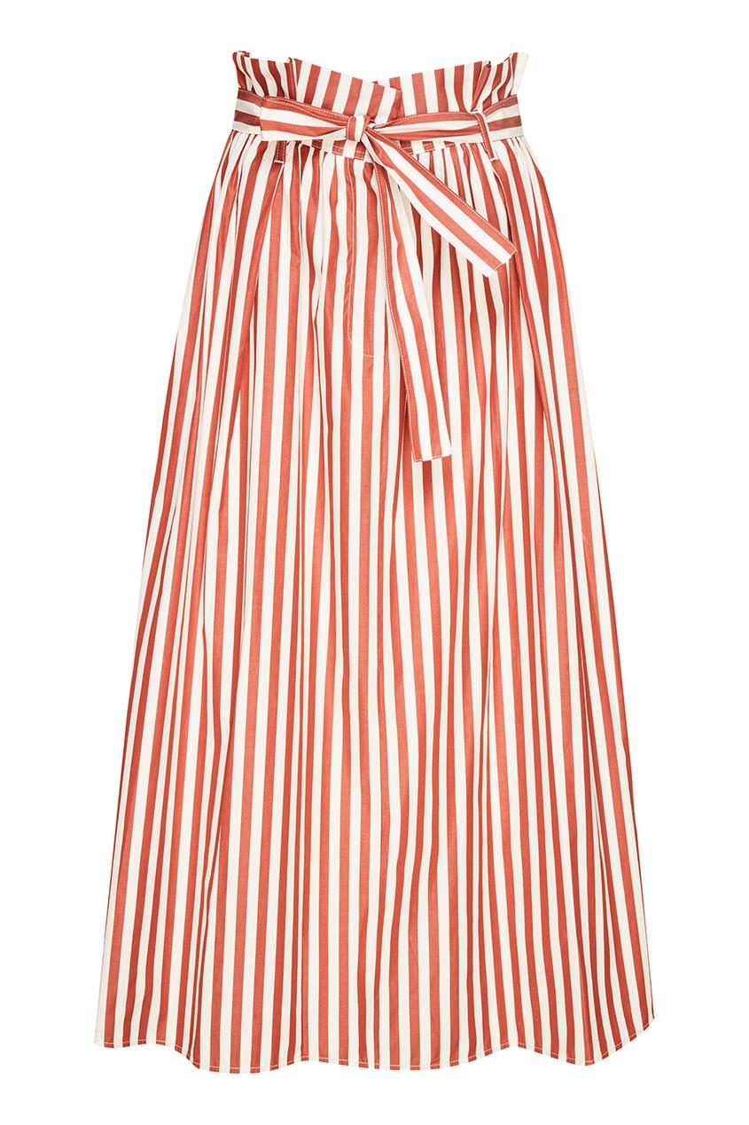 Хлопковая юбка в красную полоску