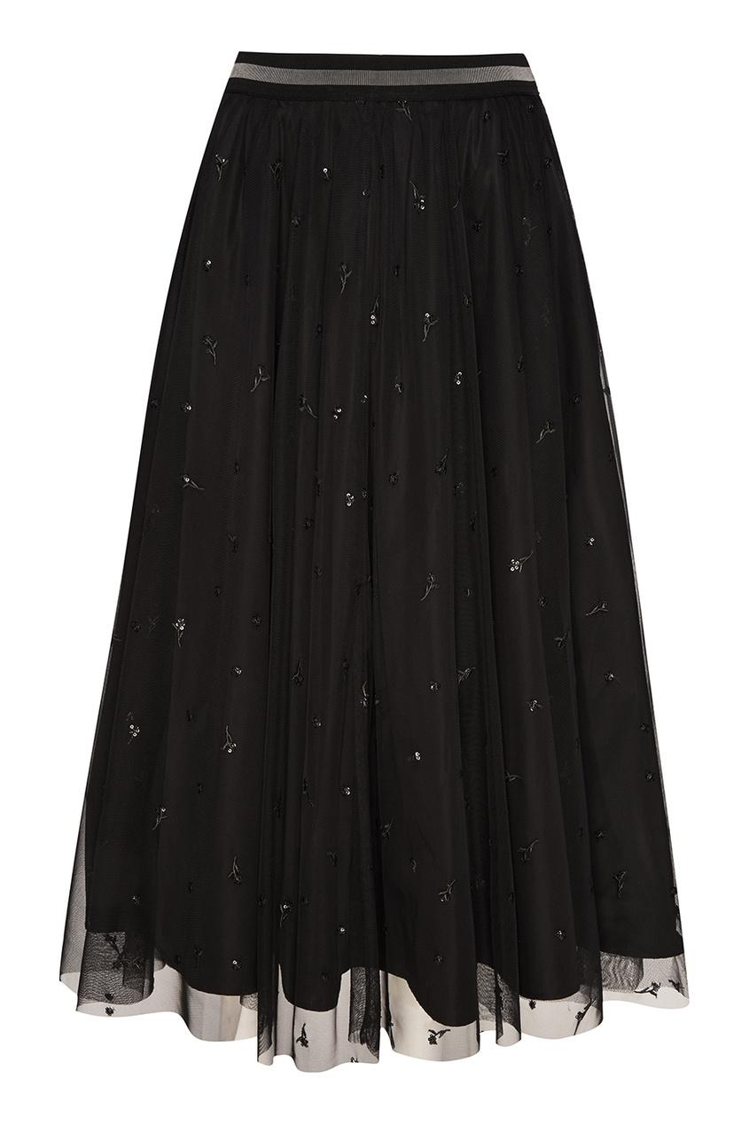 Черная юбка из вышитой сетки