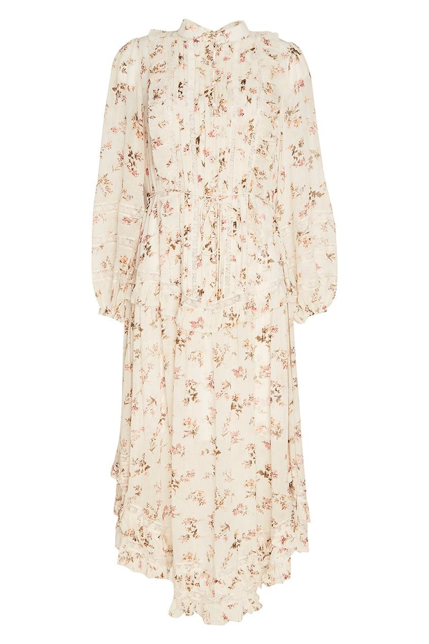 ZIMMERMANN Платье-миди с цветочным принтом платье с цветочным принтом