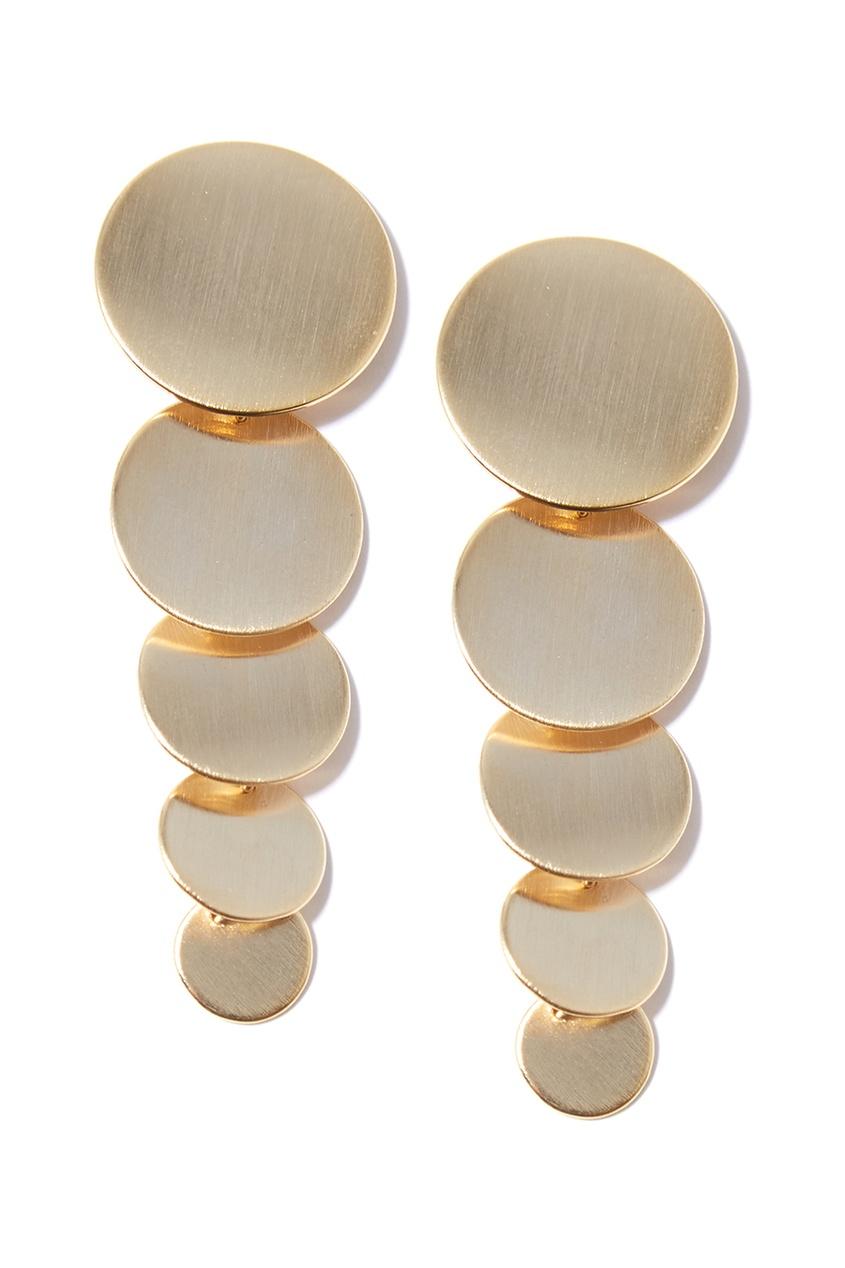 Золотистые серьги с кругами