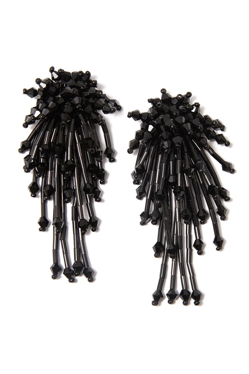 Черные серьги с кристаллами и стеклярусом