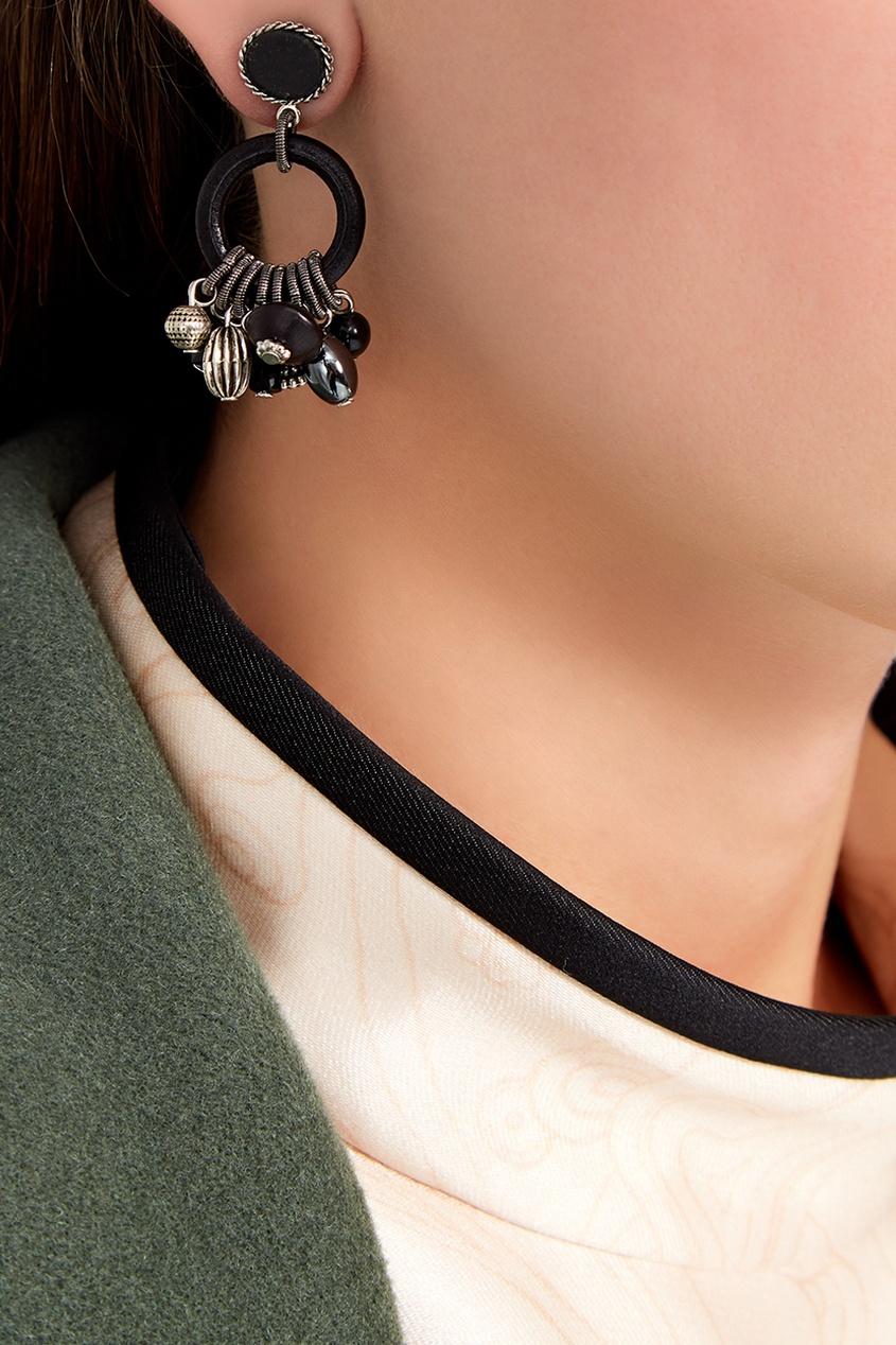 Unique Черные серьги с подвесками серьги с подвесками jv серебряные серьги с синт гранатами и куб циркониями ppe2271 grb 001 wg