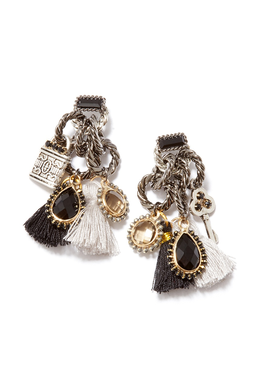Unique Серебристые серьги с шелковыми кисточками серьги с султанитом в москве