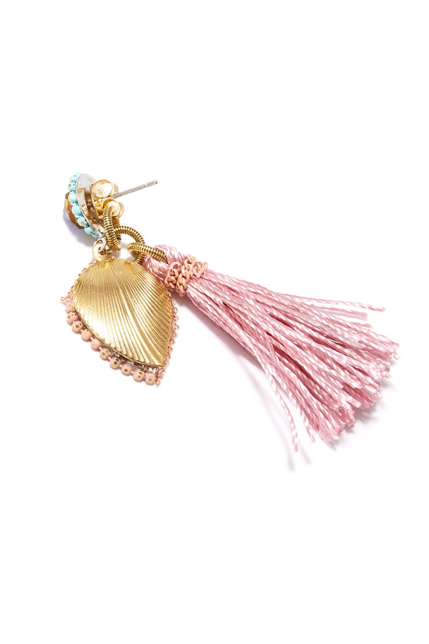 Unique Розовые серьги-кисти с кристаллами moon paris серьги с кристаллами и с гематитом с серебрением mok 1607 061