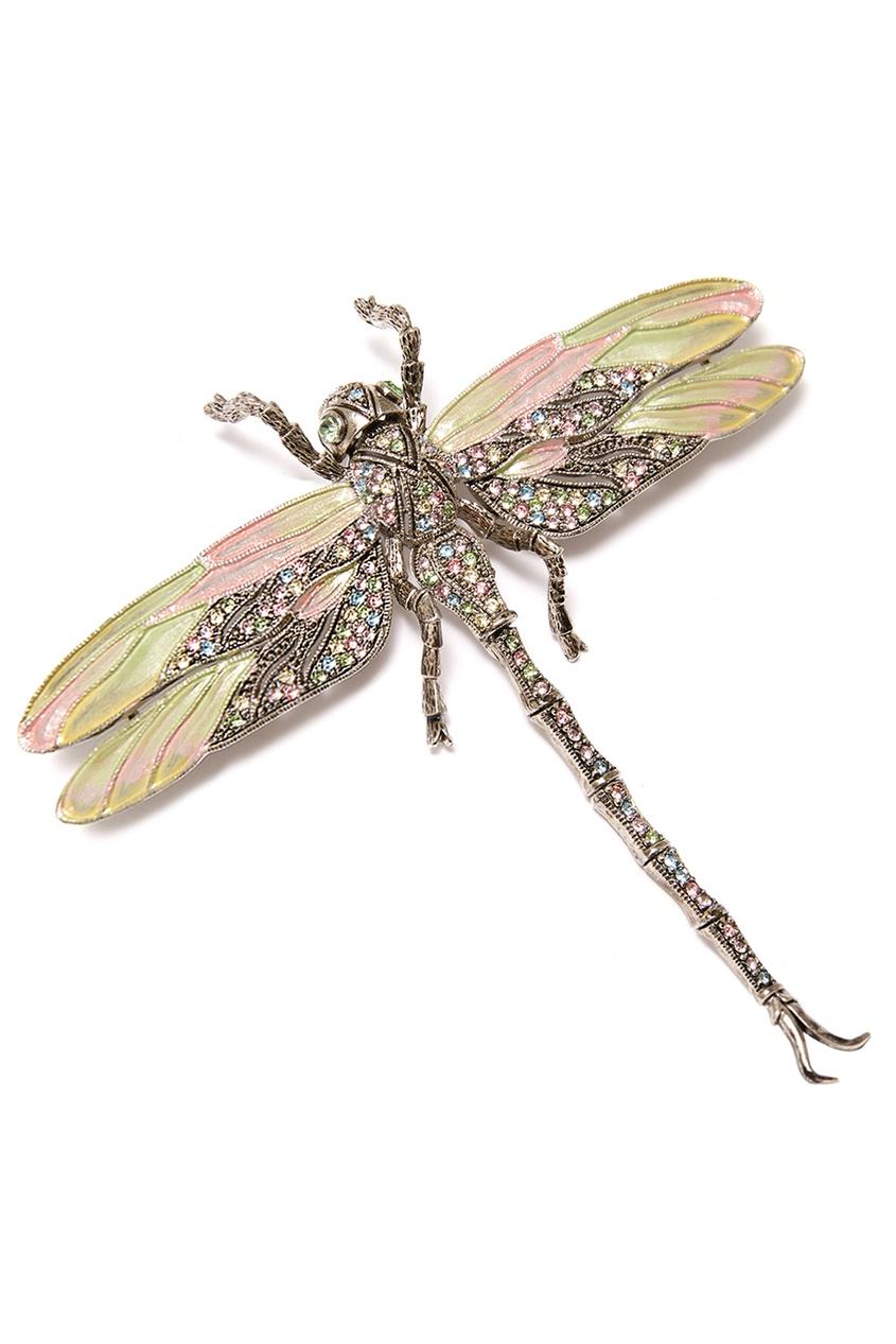 Серебристая брошь-стрекоза с кристаллами