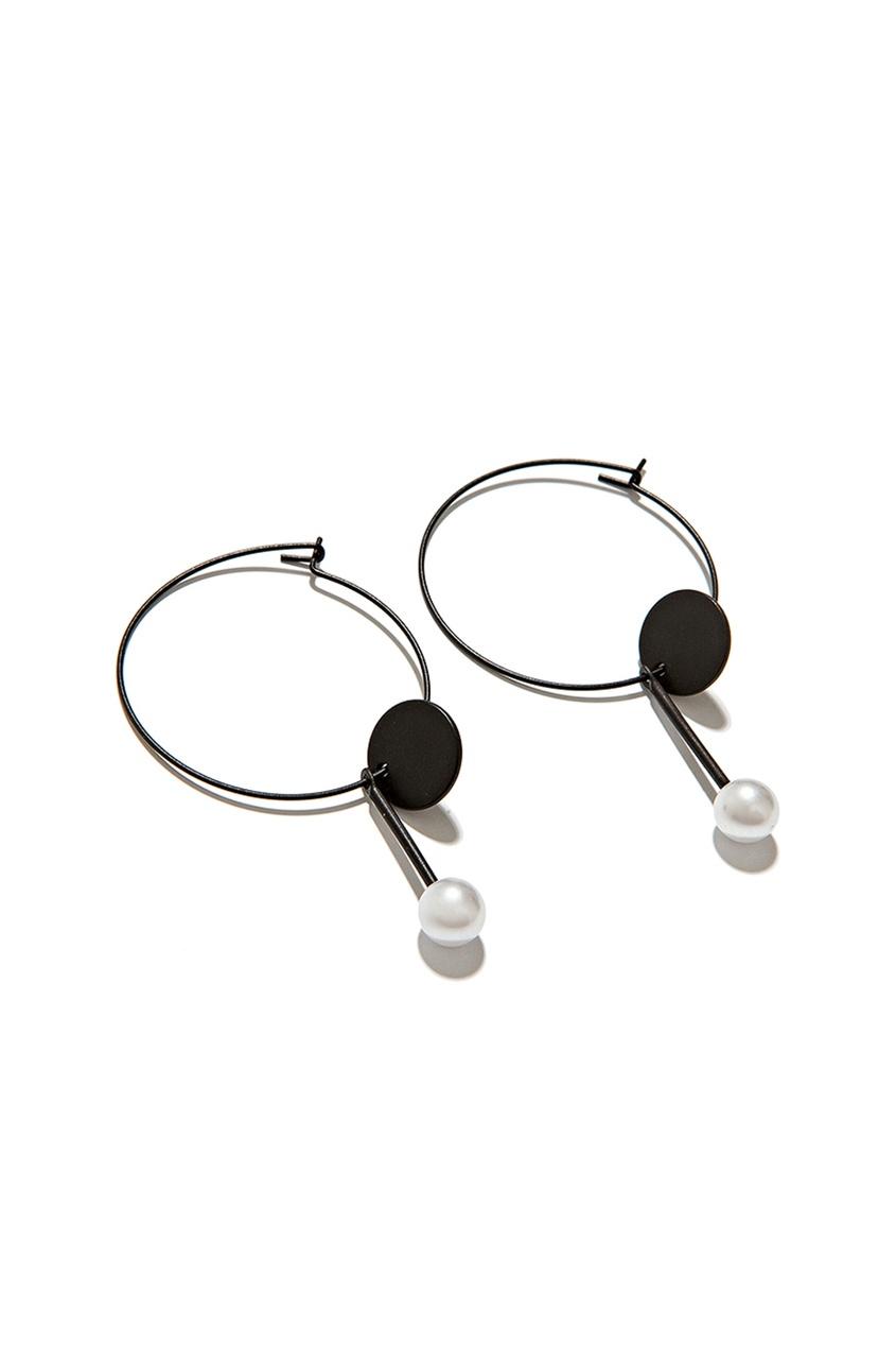 Exclaim Черные серьги с подвесками серьги с подвесками jv серебряные серьги с ониксами куб циркониями и позолотой or 3644 a ox 001 pink