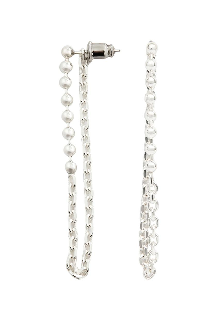 Exclaim Серьги с подвеской-цепочкой exclaim подвеска pearls посеребрение