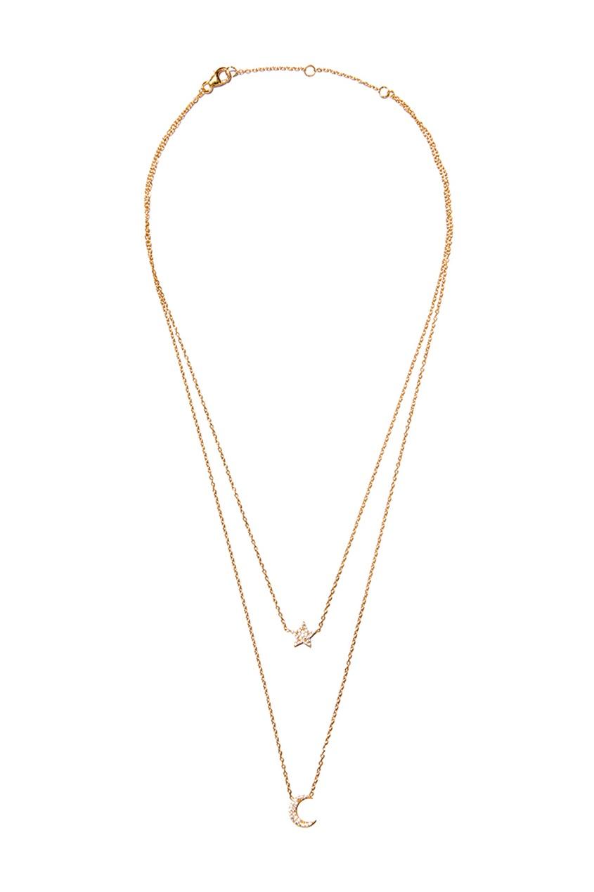 Exclaim Двойное колье-цепочка с подвесками браслеты exclaim легкий браслет цепочка из серебра с золотым покрытием