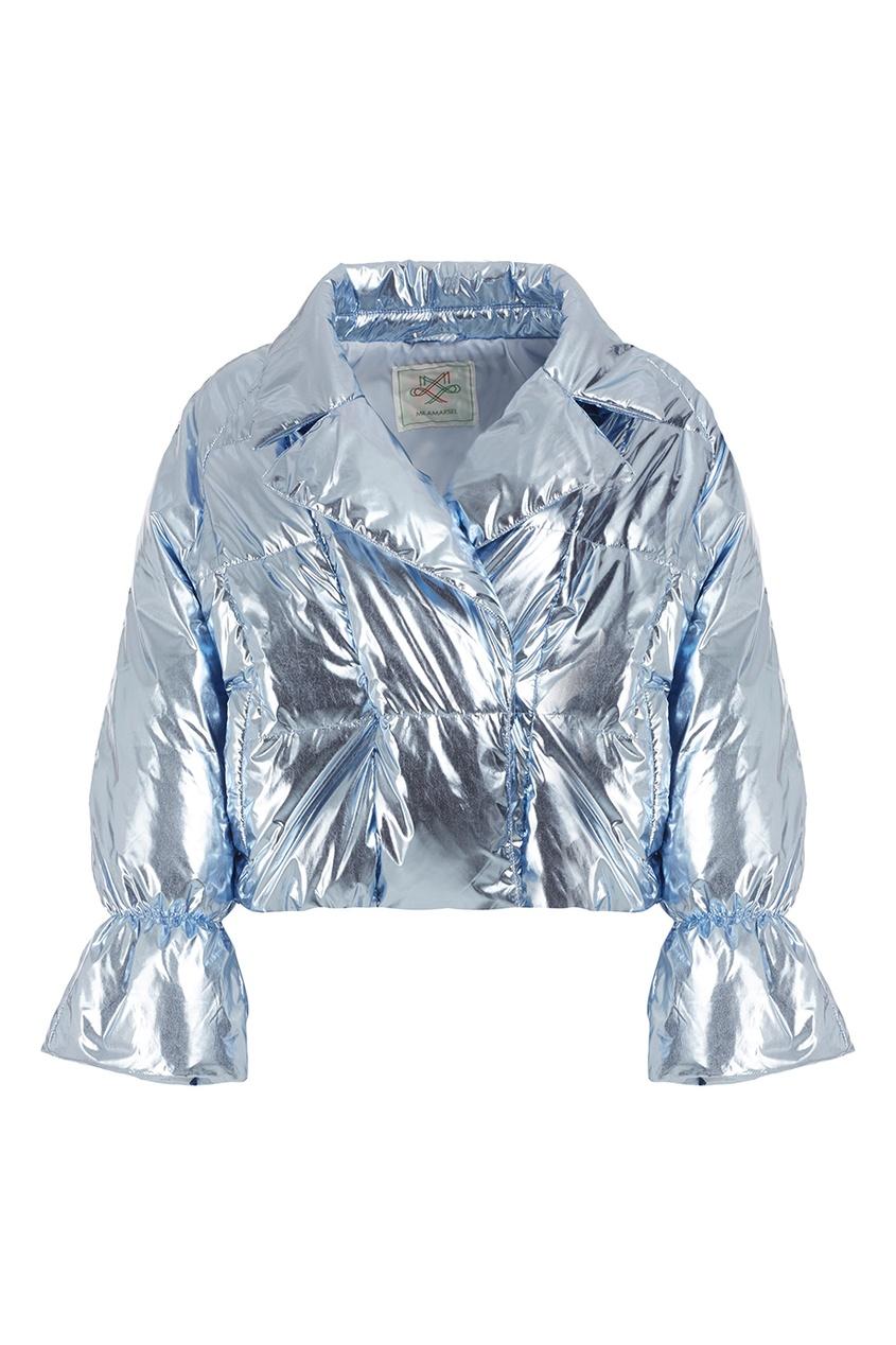 Голубая металлизированная куртка