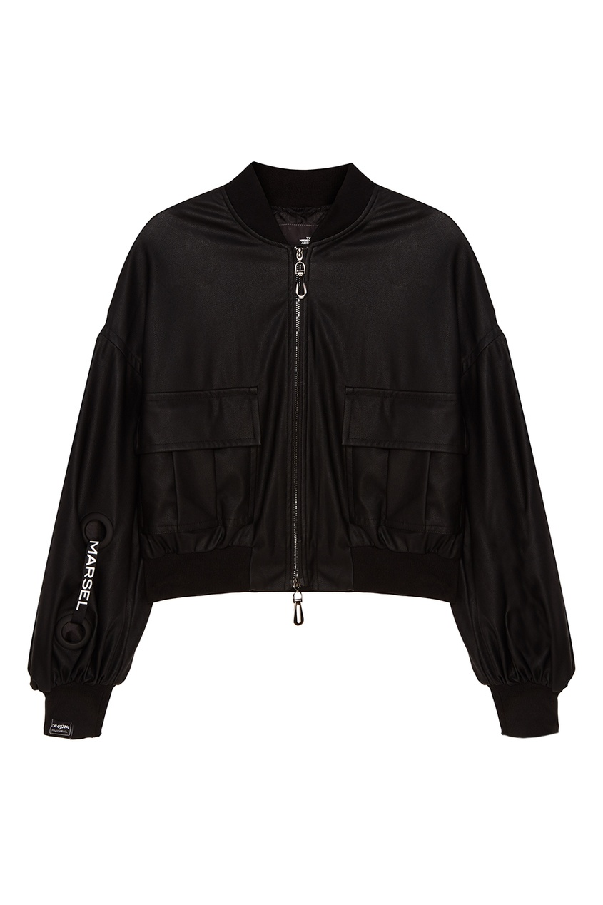 MILA MARSEL Черный бомбер с накладными карманами бомбер printio мода 2017