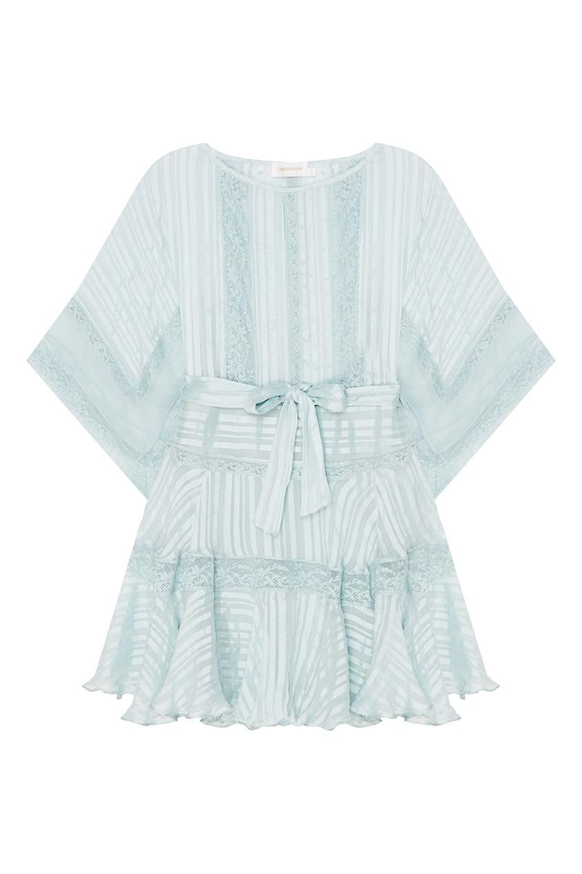 ZIMMERMANN Голубое платье из шелка с кружевом платье голубое в белый горошек