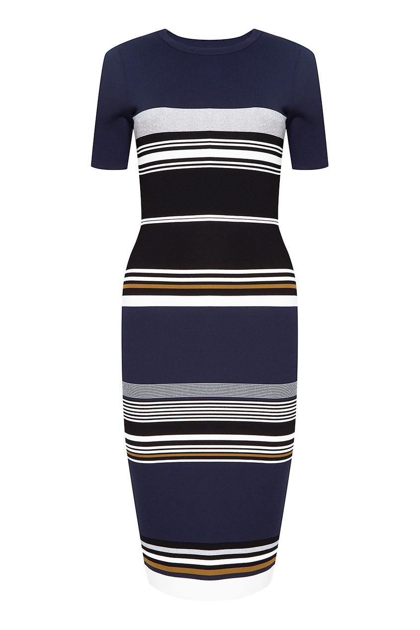 Diane von Furstenberg Темно-синее трикотажное платье в полоску fox платье темно синее