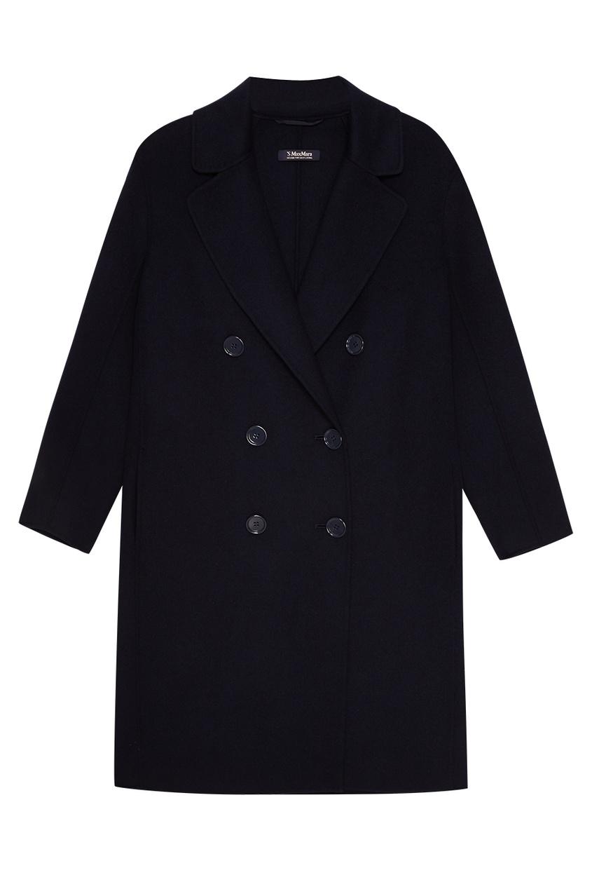 Max Mara Синее двубортное пальто из шерсти женское пальто max mara max mara2014