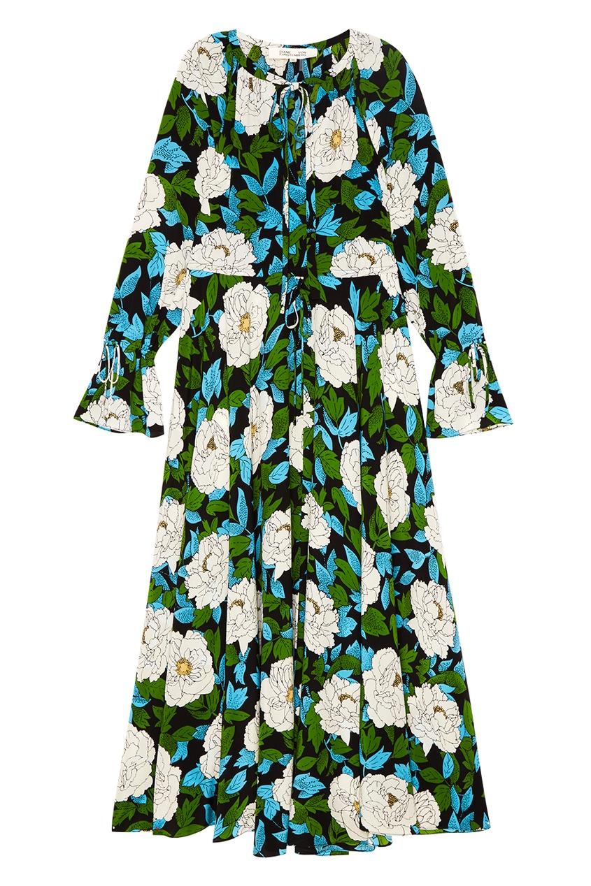 Шелковое драпированное платье с цветами