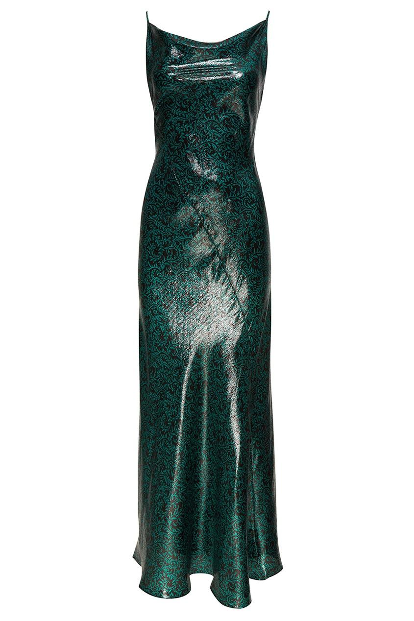 Зеленое платье из шелка с люрексом