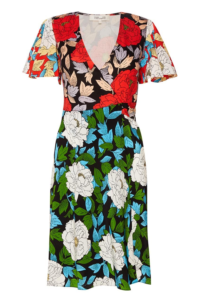Diane von Furstenberg Шелковое платье с запахом недорогое платье запахом для полных