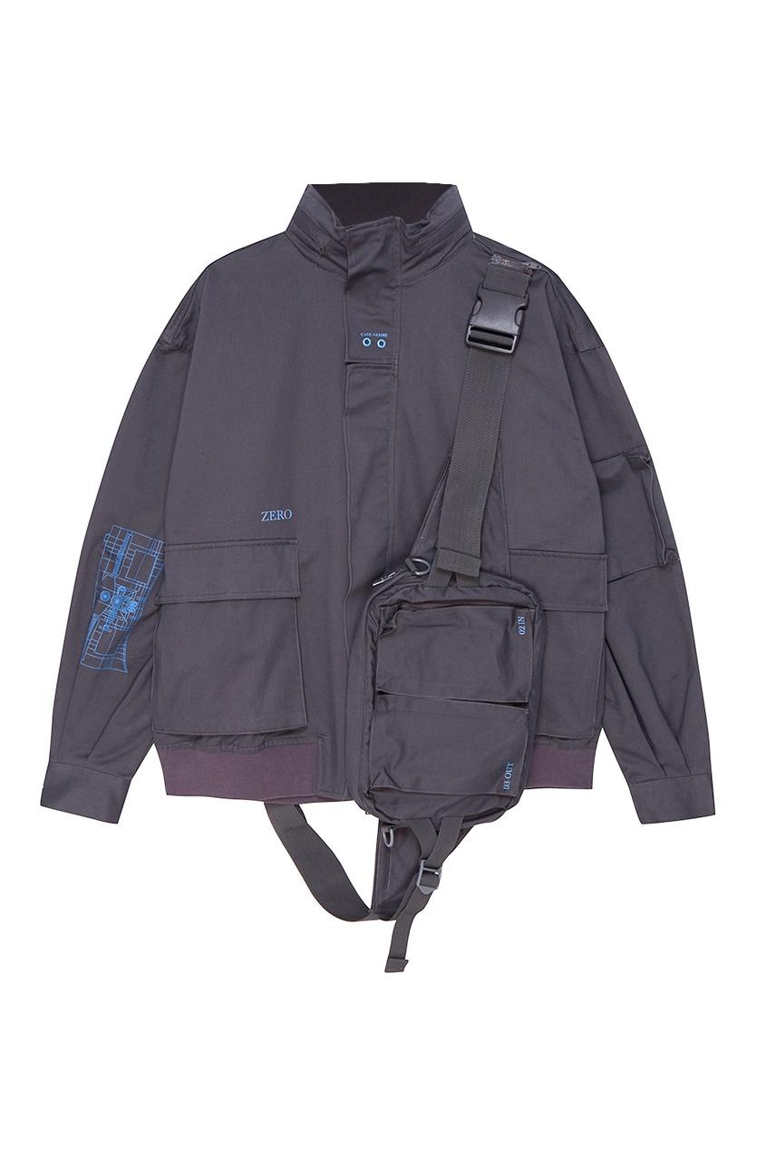 C2H4 Серая куртка из хлопка куртка темно серая brums ут 00017829