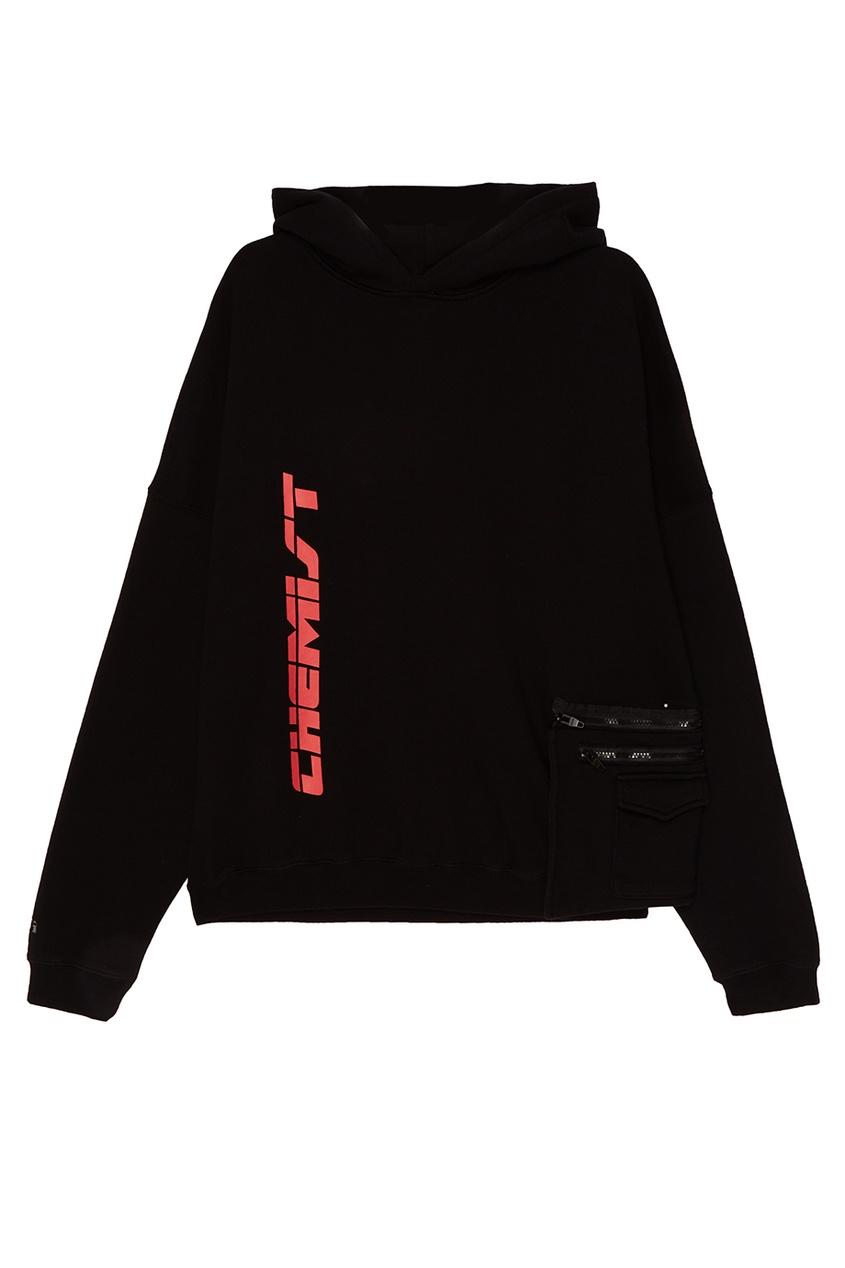 C2H4 Черное хлопковое худи со съемным карманом