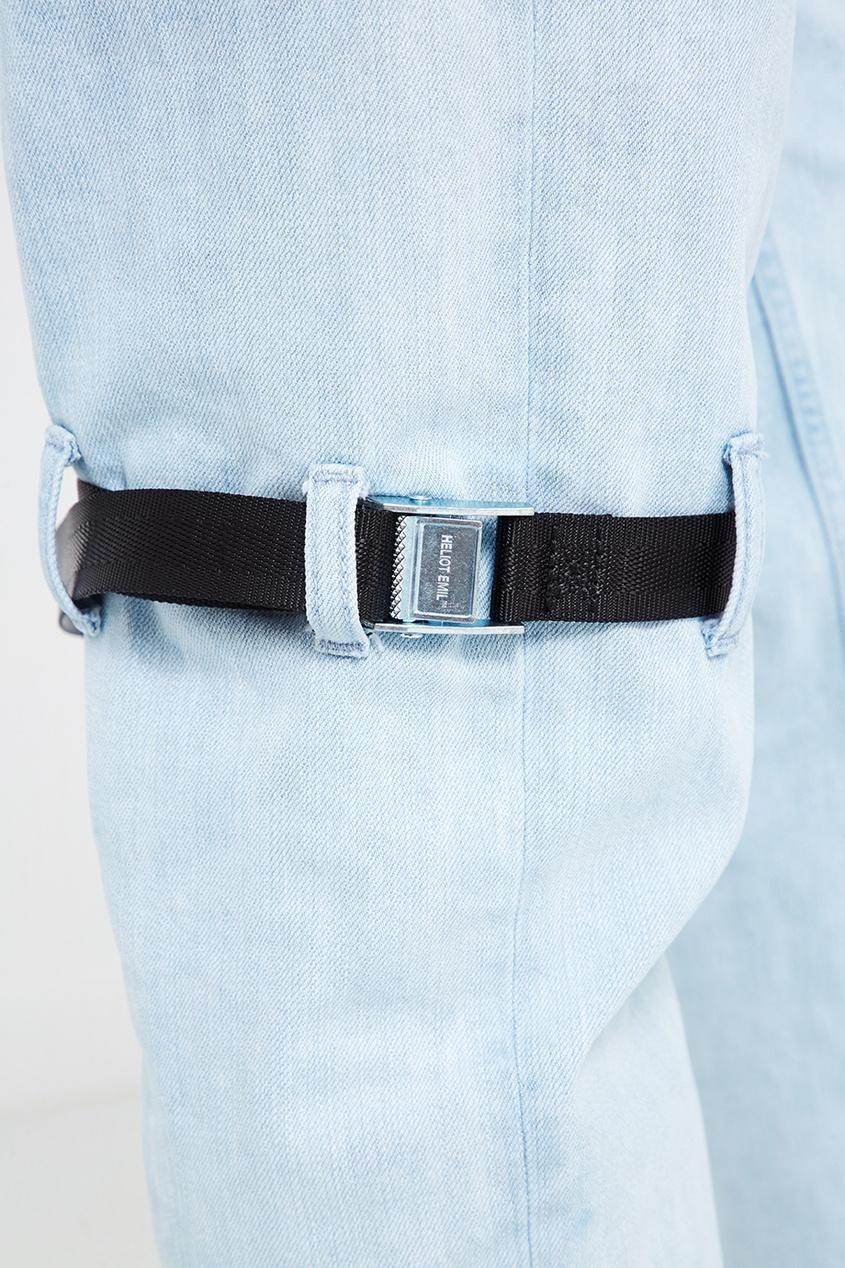 Heliot Emil Голубые джинсы с ремнями ялу простого сплошного цвета джинсы мужского бизнеса мужчины талия прямые случайные джинсы темно синий 1907 32