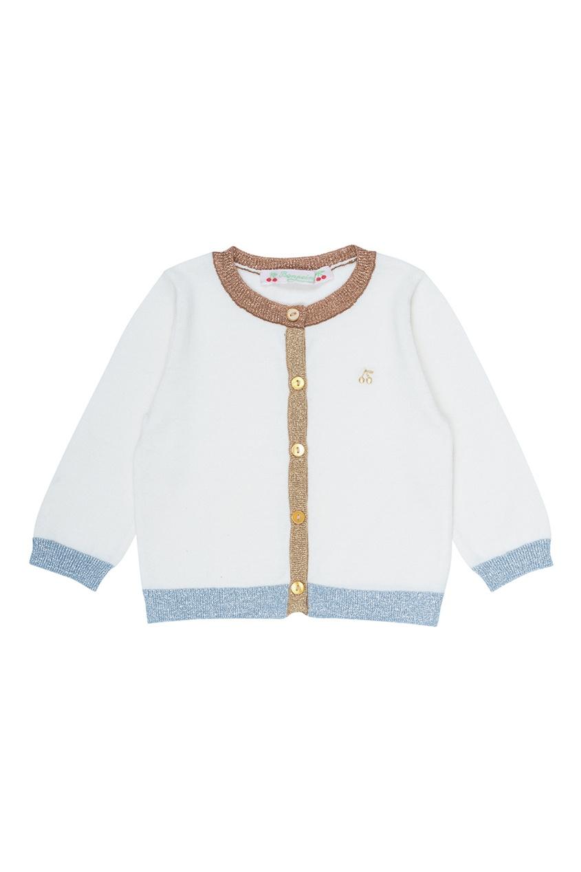 Bonpoint Хлопковый кардиган цвета экрю bonpoint кожаный портфель с контрастными деталями