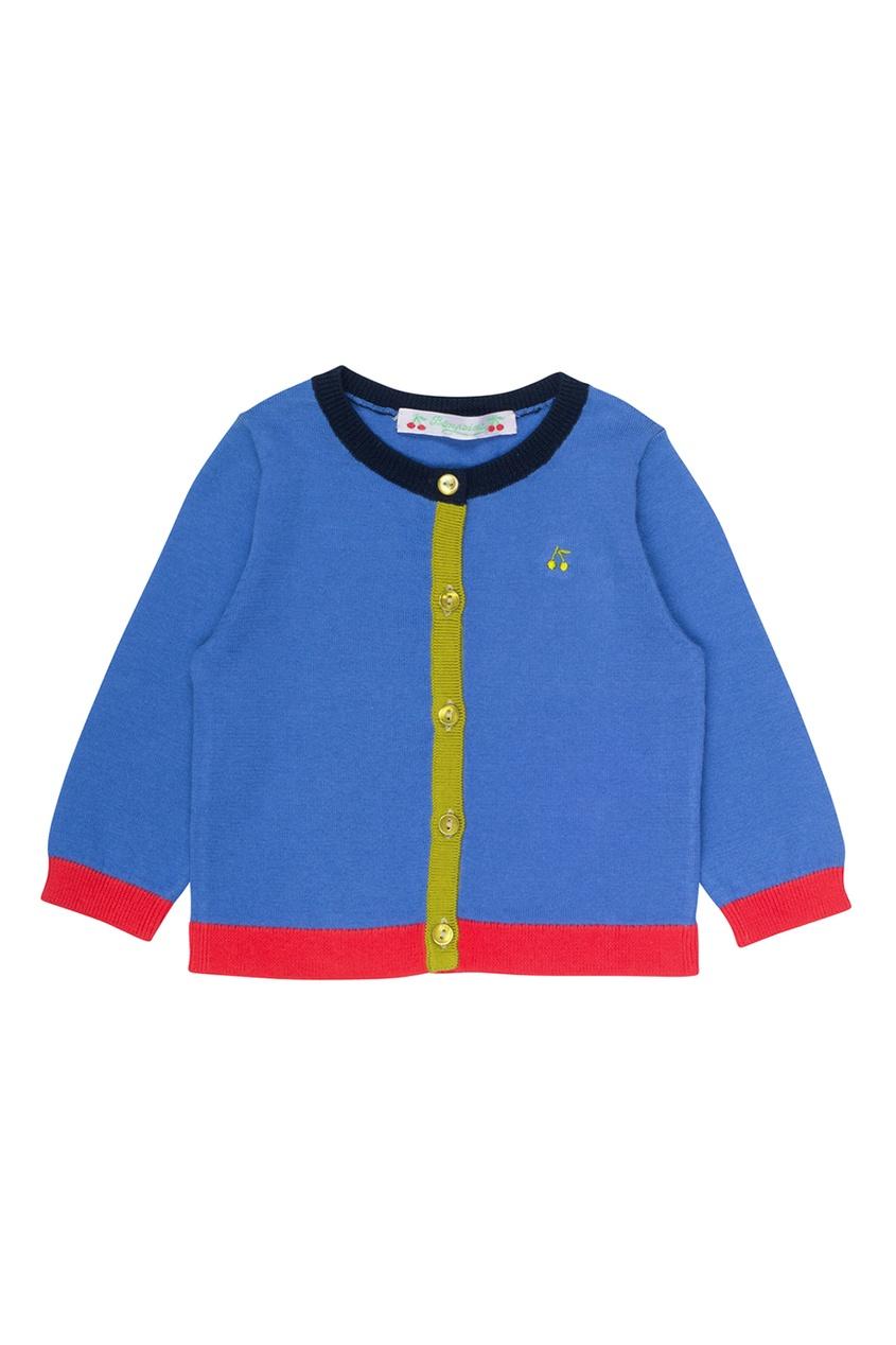 Bonpoint Хлопковый кардиган синего цвета bonpoint кожаный портфель с контрастными деталями