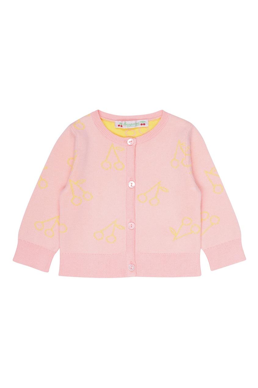 Bonpoint Хлопковый розовый кардиган