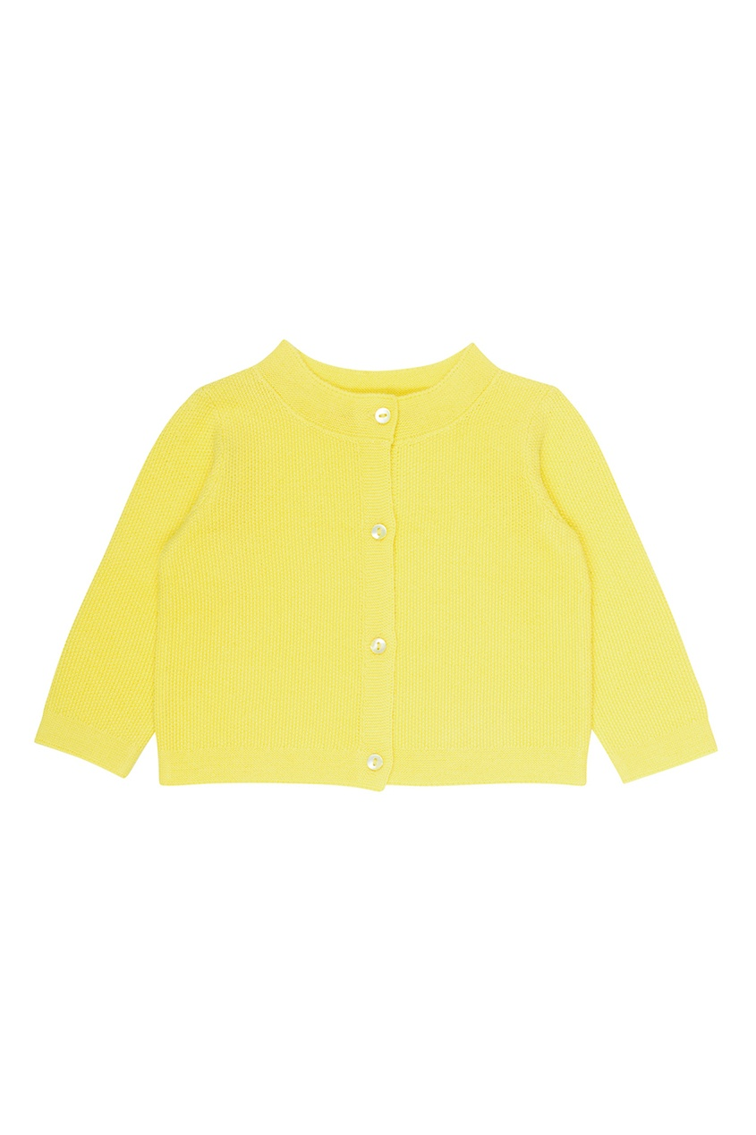 Bonpoint Хлопковый желтый кардиган