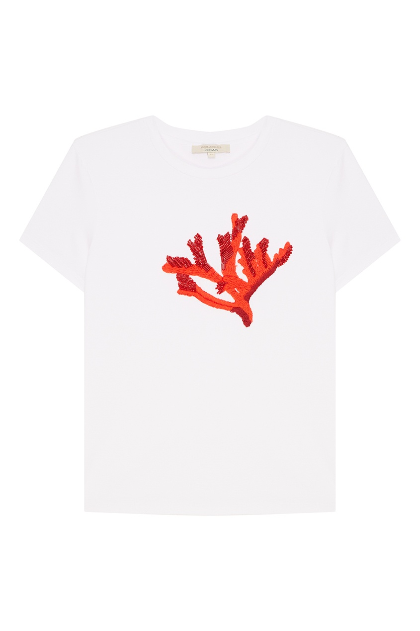 Akhmadullina DREAMS Белая футболка с вышитым кораллом levi's® белая футболка с эмблемой the perfect tee