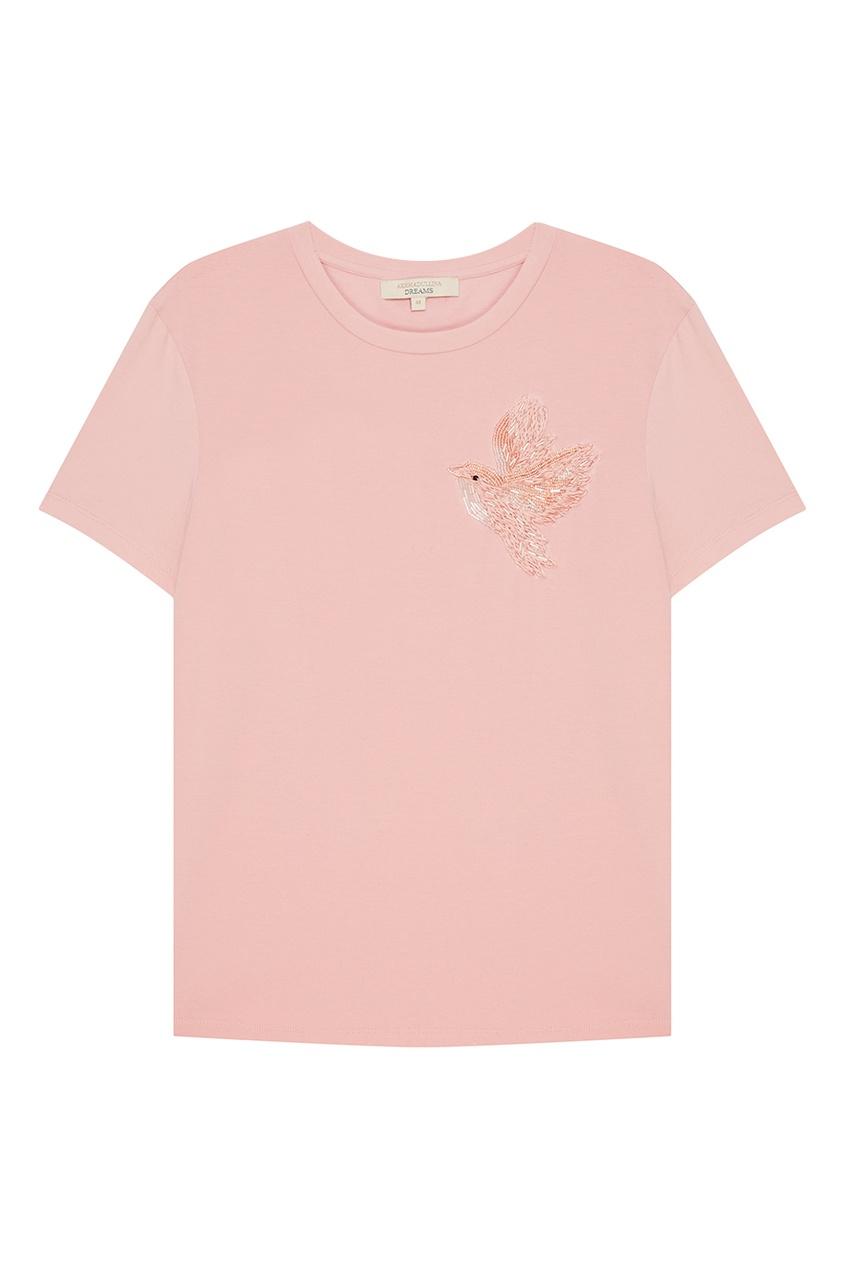 Akhmadullina DREAMS Розовая футболка с вышитой птицей футболка 560 с короткими рукавами спортивная для малышей розовая