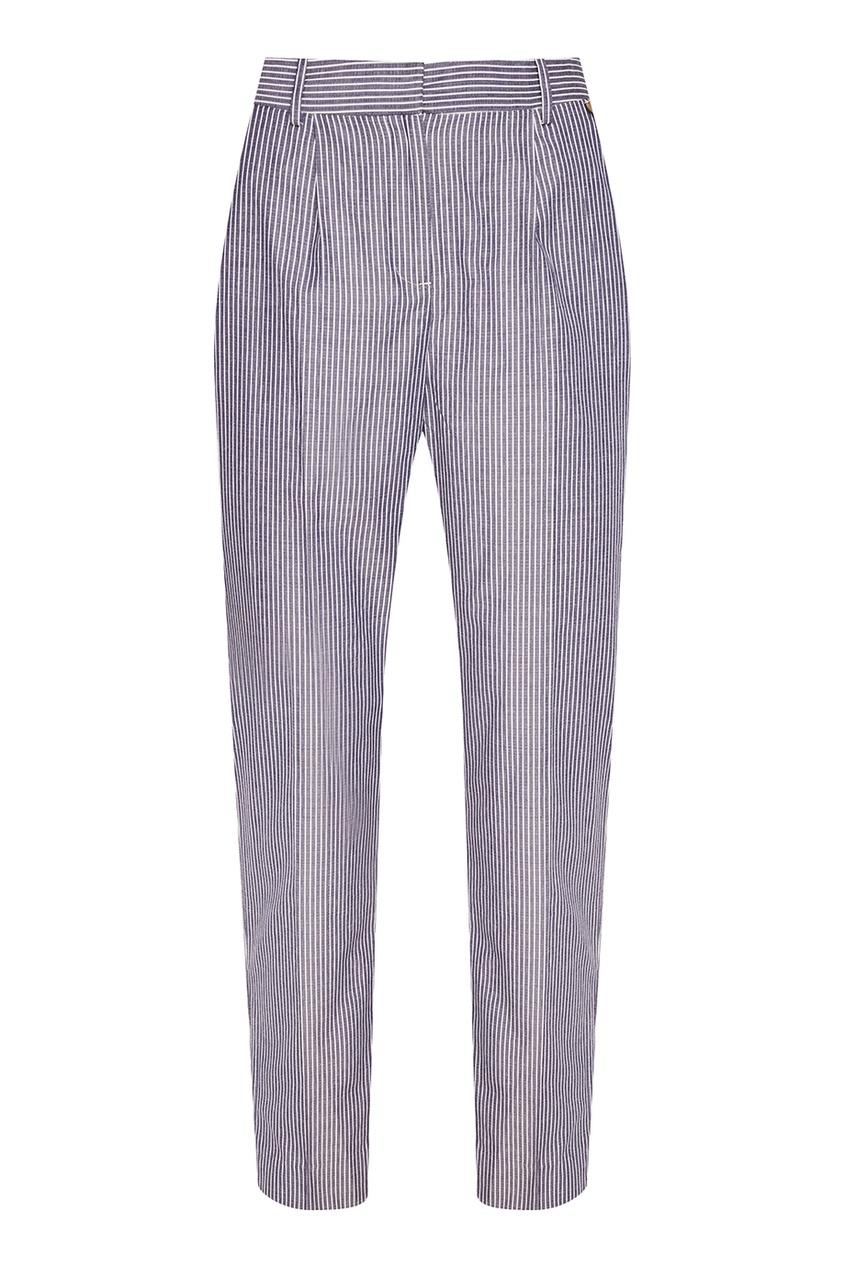 Синие хлопковые брюки в полоску