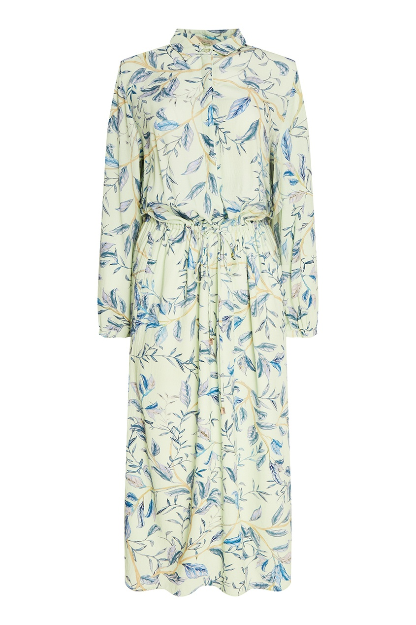 Платье-рубашка с акварельным принтом