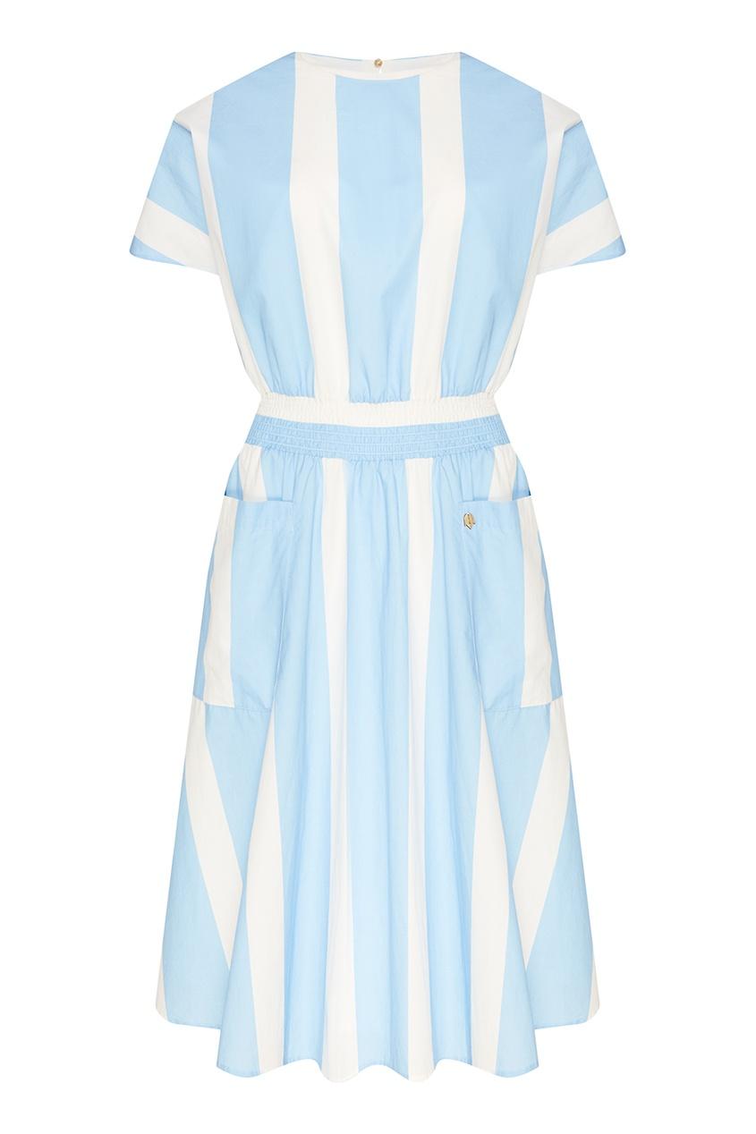 Хлопковое платье в бело-голубую полоску