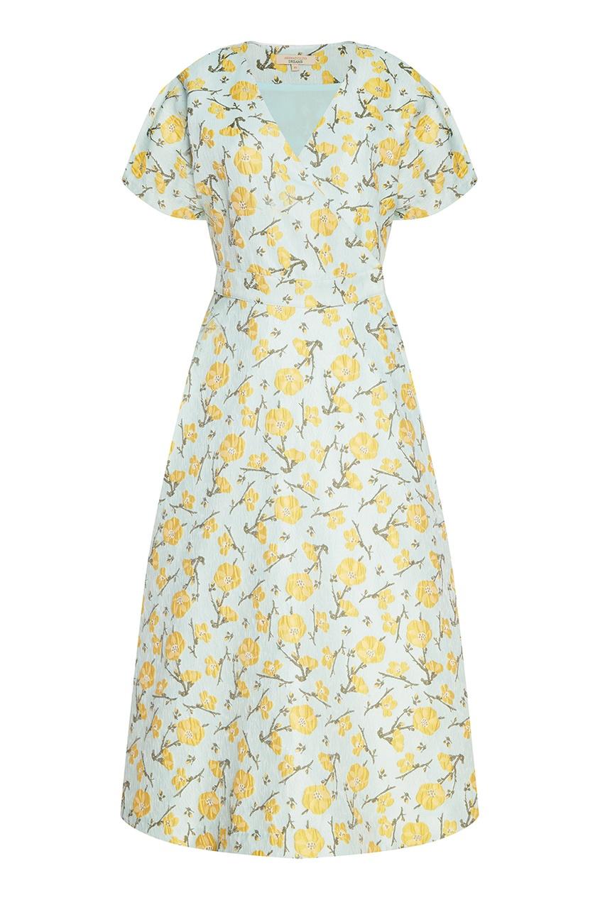 Платье из хлопкового жаккарда с цветами