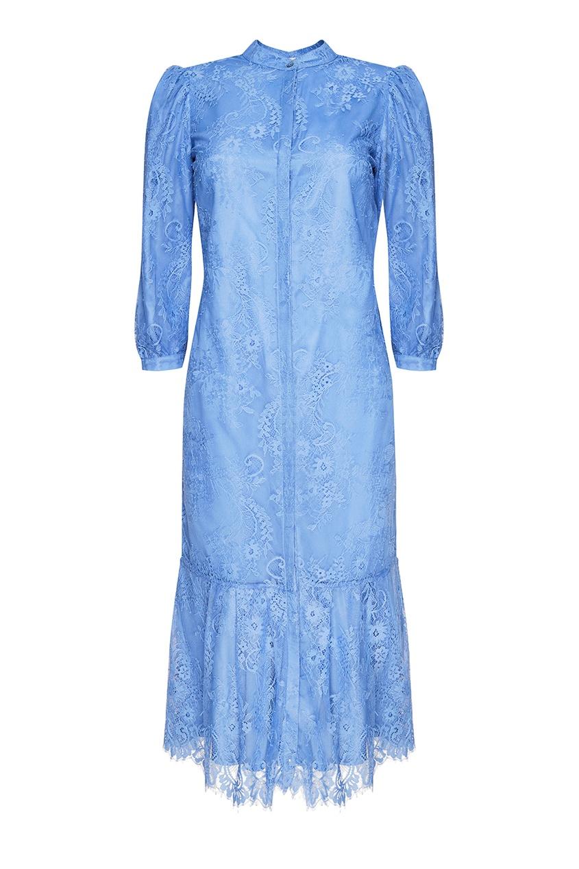 Синее кружевное платье с воланом